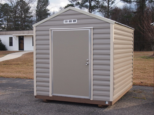 This storage building is perfect for your basic storage needs, a place to work on your backyard projects, a garden shed, or even a playhouse for children.