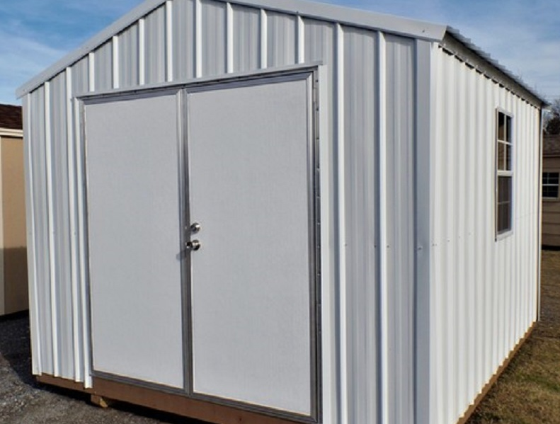 utility shed with swing door